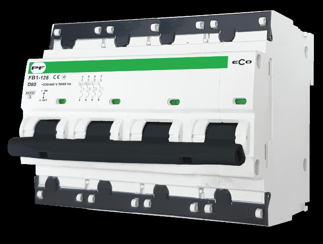 """Модульний автоматичний вимикач FB1-125 ECO 10kА    """"D""""  4P  125А"""