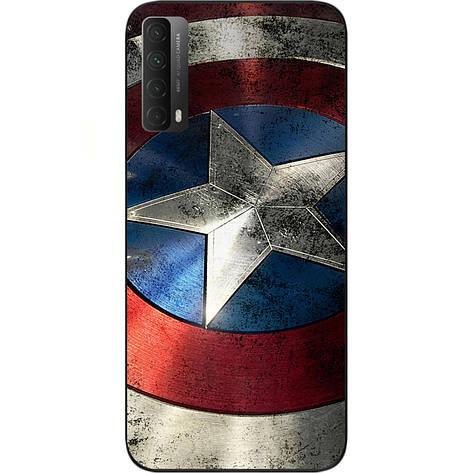 Оригинальный силиконовый чехол SMTT для Huawei P Smart 2021 с картинкой Капитан Америка, фото 2