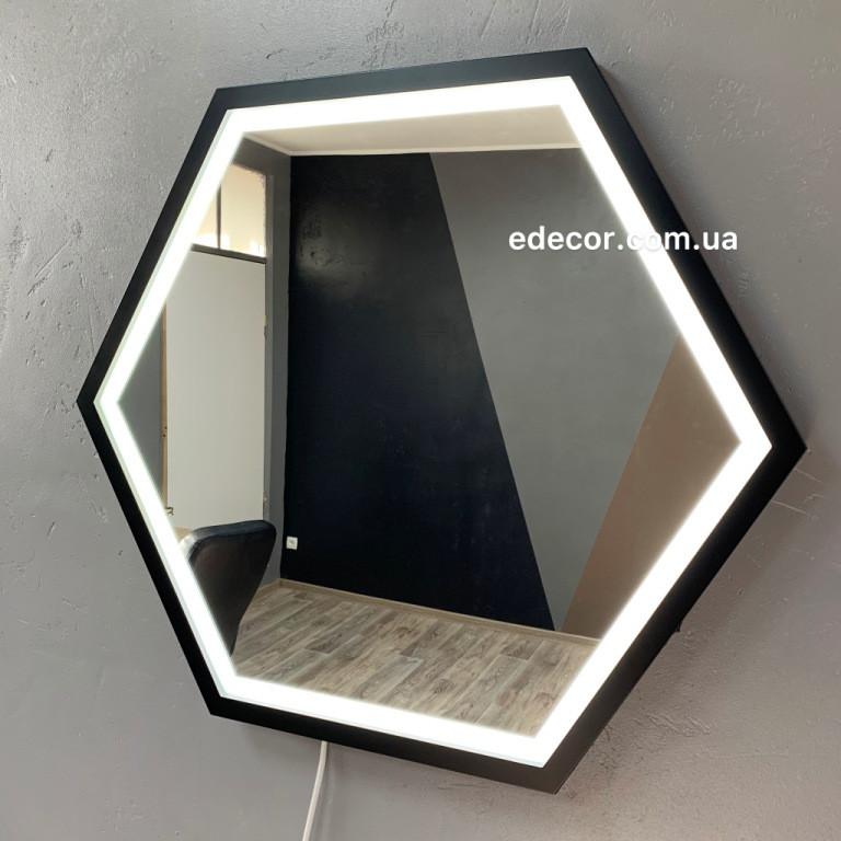 Зеркало Лофт с подсветкой черное Lindas Led R2