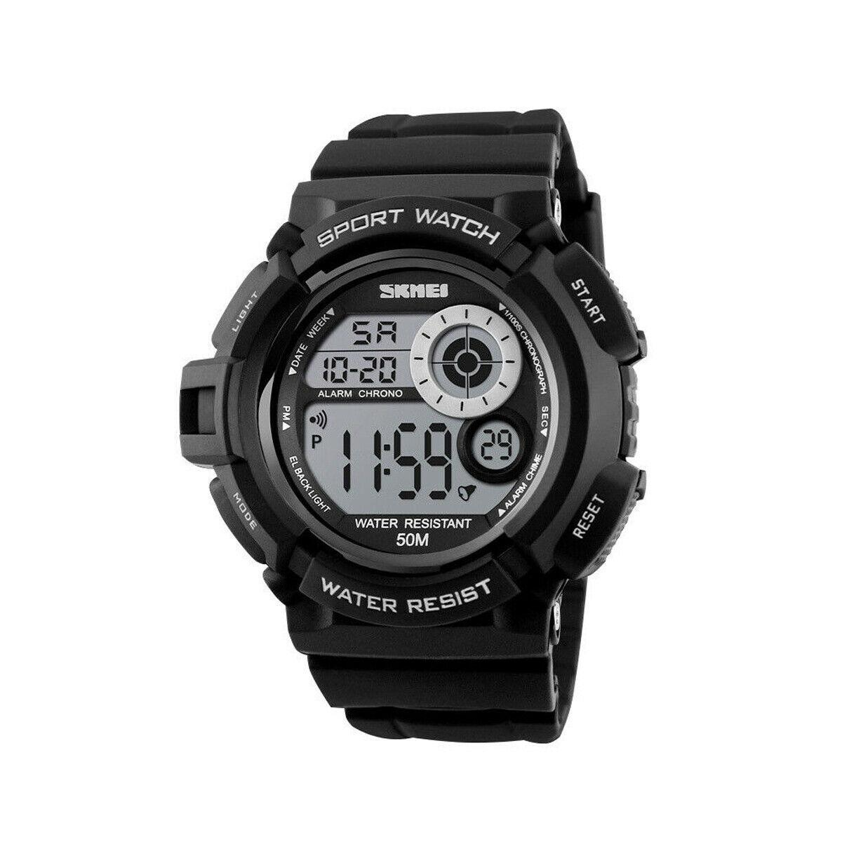 Skmei 1222 черные мужские спортивные часы
