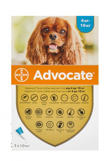 Капли от блох клещей и глистов для собак 4-10 кг Bayer Advocate (Адвокат) 3 шт/уп