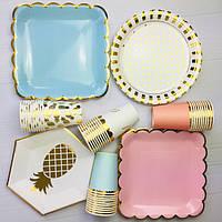 Всё для праздника: шарики, посуда, гирлянда, скатерть