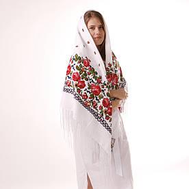 Хустка біла вовняна з квітами140х140 см.  Т140/1