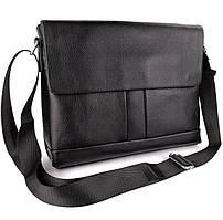 Портфель мужской кожаный для ноутбука и документов Tiding Bag черный