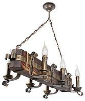 Люстра из дерева с элементами ковки бревно на 6 свечей 690326