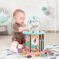 Детская деревянная музыкальная развивающая игрушка куб подарок для девочки и мальчика