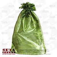Полупрозрачный зеленый подарочный мешочек 25х38(33) см из органзы
