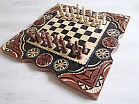 """Шахматы ручной работы с нардами на подарок """"Охота"""""""