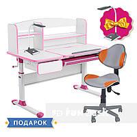 Комплект для девочек👸 парта Cubby Rimu Pink+детское кресло FunDesk LST3 Orange-Grey, фото 1