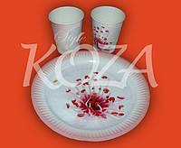 """Комплект одноразовой бумажной посуды """"Цветок"""" 100шт/уп"""