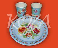 "Комплект одноразовой бумажной посуды ""Вітаємо!"" 100шт/уп"
