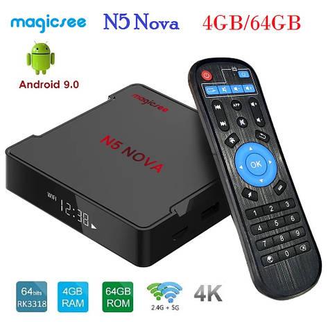 Смарт ТВ медиа приставка Magicsee N5 NOVA 4/64GB Smart TV Box RK3318 Android 9.0 Смарт ТВ бокс, фото 2