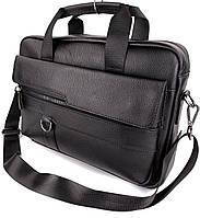 Кожаная сумка для ноутбука и документов черная Tiding Bag мужской портфель для А4