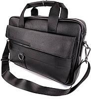 Шкіряна сумка для ноутбука і документів чорна Tiding Bag чоловічий портфель для А4