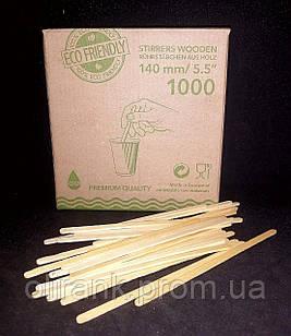 Мішалка дерев'яна (вільха) в коробці (нешлифованная)800шт/уп 14см (36уп/ящ)