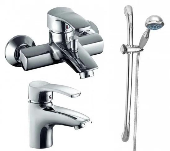 Комплект змішувачів для ванни, умивальника і душ зі стійкою Armatura (KFA) KWARC 4201-000-00 Польша