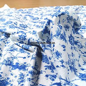 Ткань лен принт синие цветы с птицами на белом