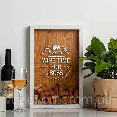 "Картинка товара Копилка для винных пробок ""Wine time for boss"" white-brown"