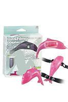 Клитеральный стимулятор-страпон Dashing Dolphin: w Mini Vibr: Pink