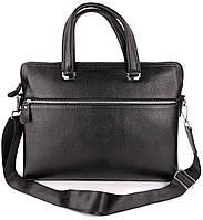 Классическая мужская кожаная сумка портфель для ноутбука или документов А4 Tiding Bag B-27A Черная