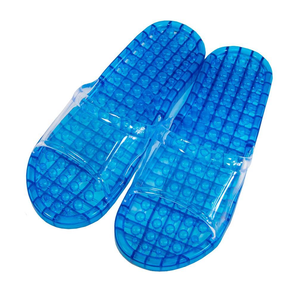 Ортопедические массажные шлепанцы голубые размер XL, рефлекторные массажные тапочки шлепки (тапки) с массажем