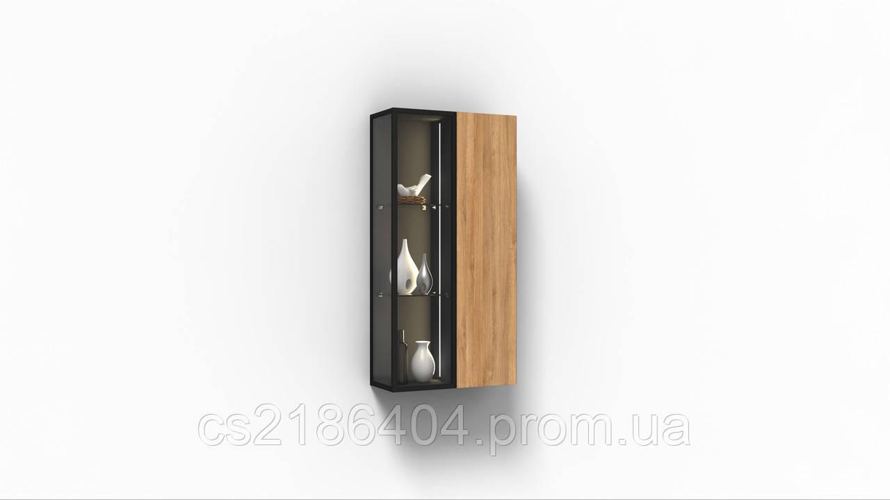 Навесной шкаф коллекции Энкель в стиле лофт, из натурального дерева в сочетании со стеклом