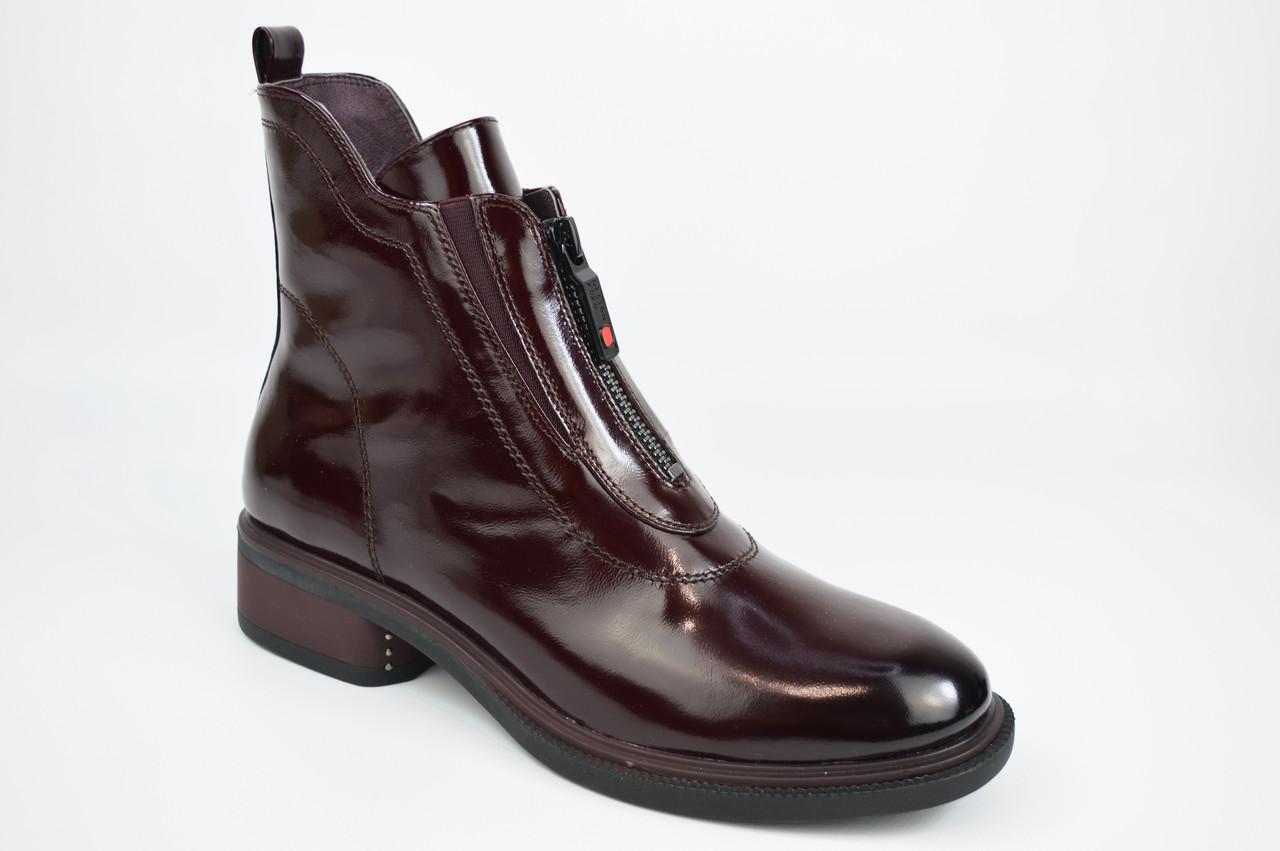 Ботинки с молнией впереди Geronea 1022 36 Бордовые кожа лак