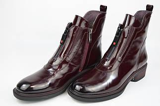 Ботинки с молнией впереди Geronea 1022 36 Бордовые кожа лак, фото 2