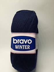 Пряжа для в'язання Bravo winter (75% шерсть) темно синій