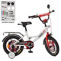 Велосипед детский PROF1 14д. XD1445 (1шт) Original boy,бело-красный,свет,звонок,зерк.,доп.колеса