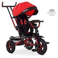 Велосипед M 4058-1 (1шт)три кол. гума (12/10),колясочн,поворот,USB/BT,світло,гальмівний,,червоний