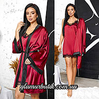Красивый женский шелковый комплект халат и пеньюар с кружевом бордовый 42-44 46-48