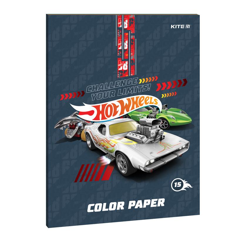 Цветная бумага двусторонняя Kite Hot Wheels 80 г/м² А4 15листов 15цветов  (HW21-250)
