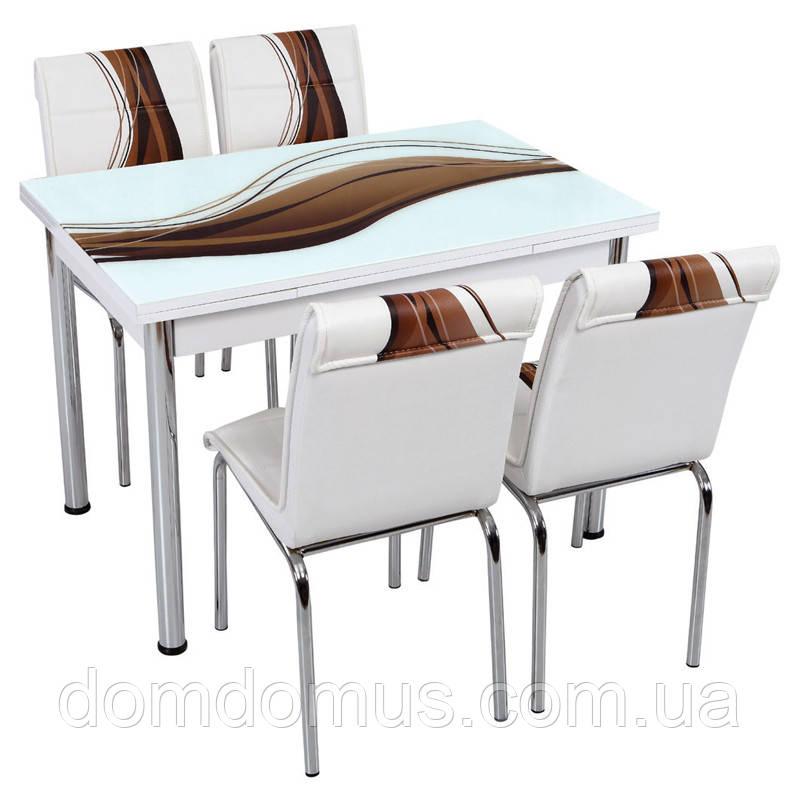 """Комплект обідній меблів """"Бежева хвиля"""" (стіл ДСП, гартоване скло + 4 стільця) Лотос-М, Туреччина"""