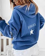 Женская КУРТКА STAR ECRU ИЗ АЛЬПАКИ , голубой, фото 1
