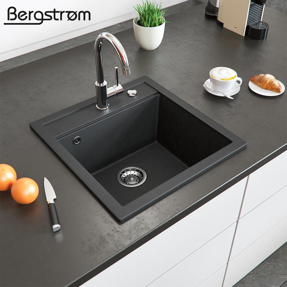 Гранітна кухонна мийка 510x490, Bergstroem, чорна