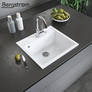 Гранітна кухонна мийка 510x565, Bergstroem, біла