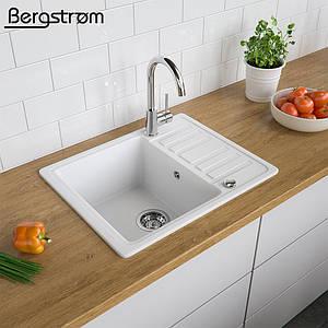 Гранітна кухонна мийка 575x460, Bergstroem, біла