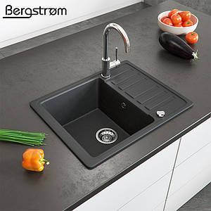 Гранітна кухонна мийка 575x460, Bergstroem, чорна