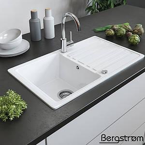 Гранітна кухонна мийка 765x460, Bergstroem, біла