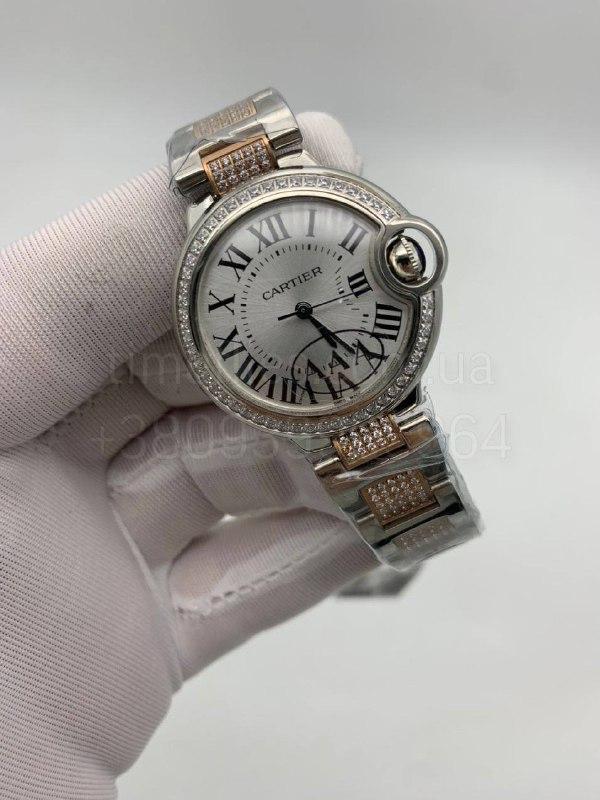 Женские наручные часы Картье Баллон Блю дэ Картье Даймонд Люкс копия