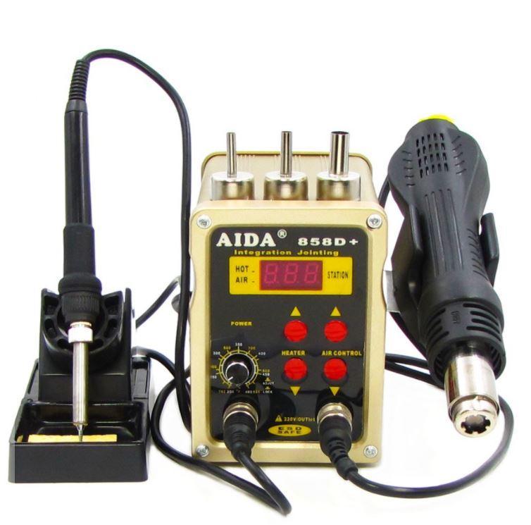 Паяльная станция AIDA 858D+ бескомпрессорная, фен, паяльник