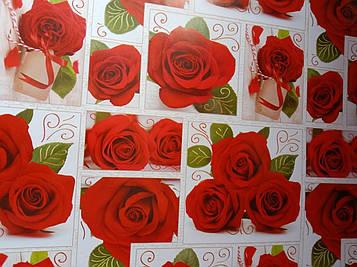 Бумага размер 1 метр на 70 см подарочная с рисунком розы для упаковки подарков 1 шт