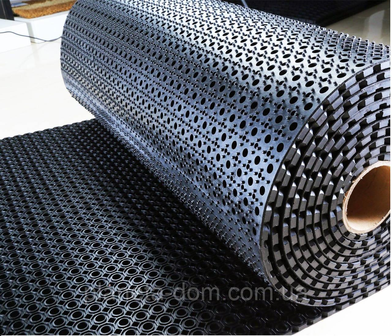 Коврик резиновый сота рулонный 100 х 920 х 1,3 см чёрный