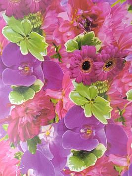 Бумага подарочная размер 1 метр на 70 см  с рисунком орхидеи для упаковки подарков 1 шт