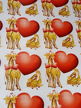 Бумага подарочная размер 1 метр на 70 см с рисунком влюбленные жирафы для упаковки подарков 1 шт