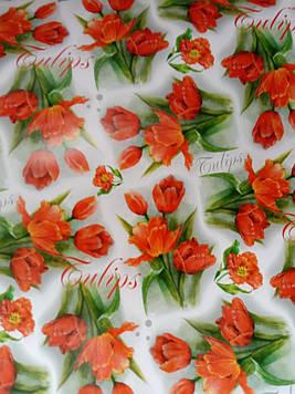 Бумага размер 1 метр на 70 см подарочная с рисунком тюльпаны для упаковки подарков 1 шт