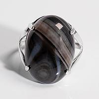 Серебряное кольцо с ониксом, 25*18 мм., 1623КО