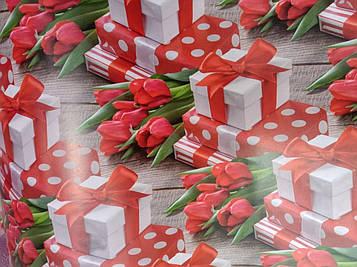 Бумага подарочная размер 1 метр на 70 см с рисунком тюльпаны для упаковки подарков 1 шт