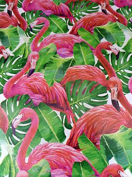 Бумага размер 1 метр на 70 см подарочная с рисунком фламинго для упаковки подарков 1 шт